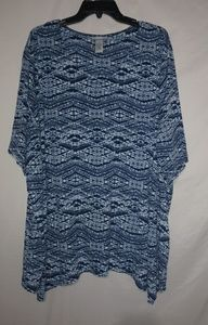 Catherines Blue White Tunic 4X Plus